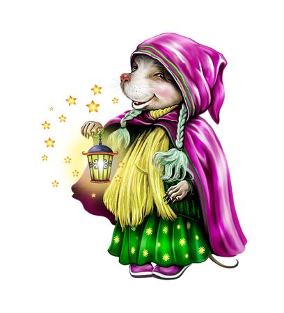 funny mouse in winter warm clothes with a hood, with a lamp in his hand and a New Year mood, Merry Christmas and Happy New Year greeting card, isolated character on a white background Banco de Imagens