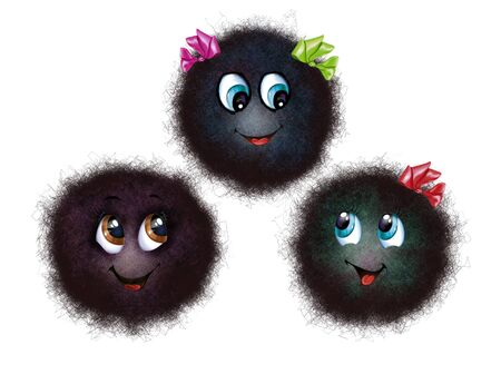 funny little black round shaggy monsters with bows, isolated characters on a white background