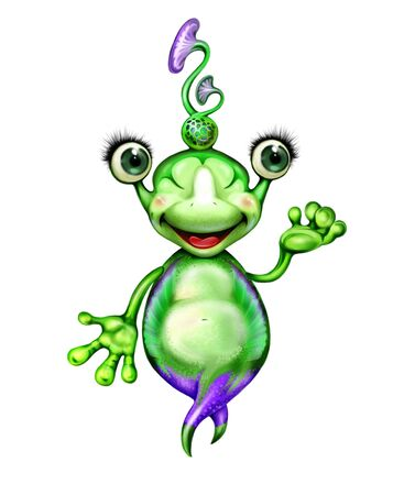 fun friendly aliens greets earthlings, kind fantastic character, cartoon martian isolated on white background