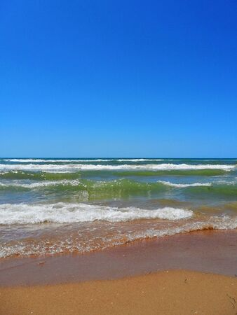 clean sand beach, sea and waves, horizon, summer, sunny