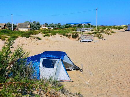 tent on the sandy beach