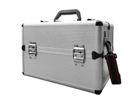 square aluminum case with handle, latches and strap