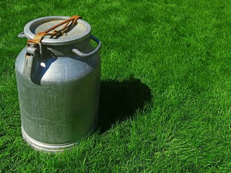 metal can for milk with a closed lid. in sunny weather on the grass. the idea is a healthy diet. empty space for text