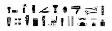 tool kit for male hairdresser. illustration, flat style. the idea is barbershop. monochrome icons isolated on white background. elements for graphic design, stencil or cutting on a plotter