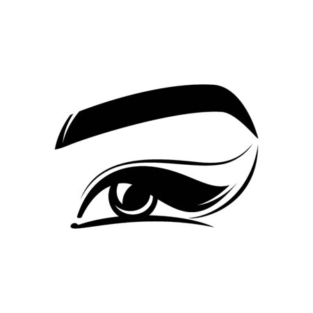 eye, eyelashes, eyebrow - flat logo isolated on white background. beauty salon, womans eye, vision correction, cosmetology