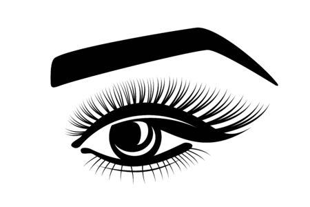 eyelashes, eye, eyebrows - stylized logo on a white background. eyesight, cosmetology, beautiful look, tattoo, makeup. black flat icon for beauty salon