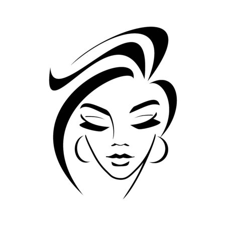 cosmetology, hairstyle, female face silhouette - logo on a white background. young girl, graceful lock of hair, eyelashes, lips. idea - style, hairdresser, beauty salon 일러스트