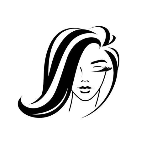 cosmetología, peinado, silueta de rostro femenino - logo sobre un fondo blanco. chica joven, elegante mechón de pelo, pestañas, labios. idea - estilo, peluquería, salón de belleza