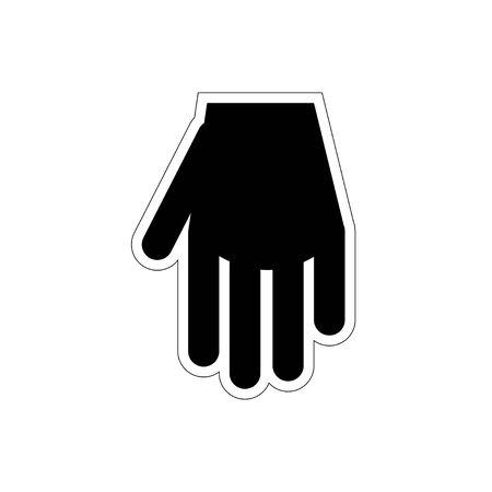 glove, hand. barber shop icon. black flat illustration for barber, isolated white background.