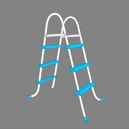 Pool ladder - vector color illustration on a homogeneous background. plastic item