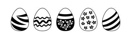 easter eggs - black and white flat illustration