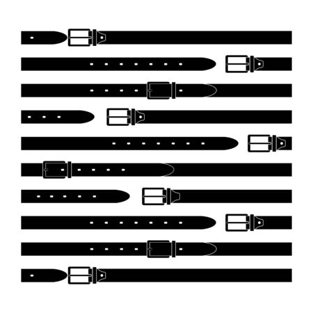 belt - flat illustration. the leather product is buttoned and unfastened. clothing item for design