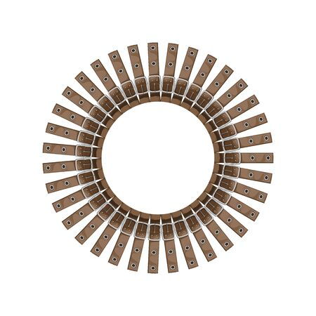 round frame made of belts - illustration on a white background. belts are arranged in a circle in the form of the sun. the item is stylized as a frame for fashion design Ilustracja
