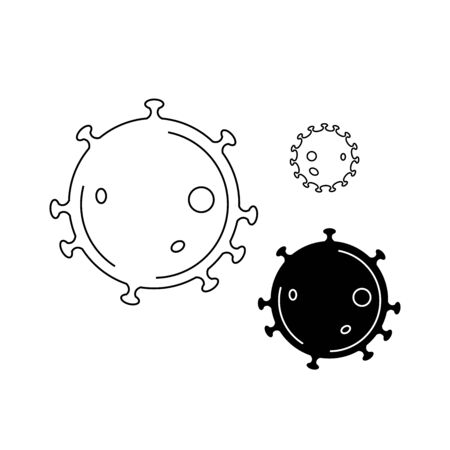 virus - black and white vector illustration on a white background. coronavirus