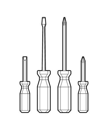 juego de destornilladores - ilustración plana aislada sobre fondo blanco. herramienta manual para tornillos. trabajo y reparación. equipo para trabajo masculino. herramienta de reparación de viviendas - libro para colorear para niños.