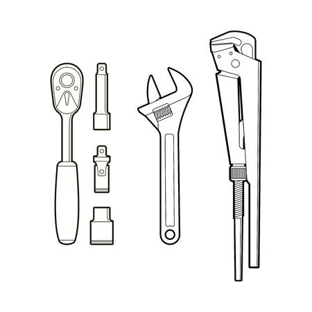 gas keys - a set of hand tools. wrench tool - flat illustration coloring book. repair kit - isolate