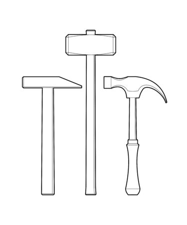 set of hammers. Hand locksmith tool - flat illustration isolated on white background. sledgehammer and hammer - coloring book for children