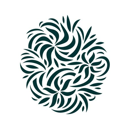 stylized flowers in a flat style. Pattern for interior decoration, furniture and fabric. asymmetrical ornament of wavy lines. hand drawn patterns isolated on white background Çizim