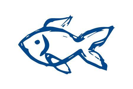 Doodle Sketch Fish. small fish - flat illustration. Marine life. sea ocean.