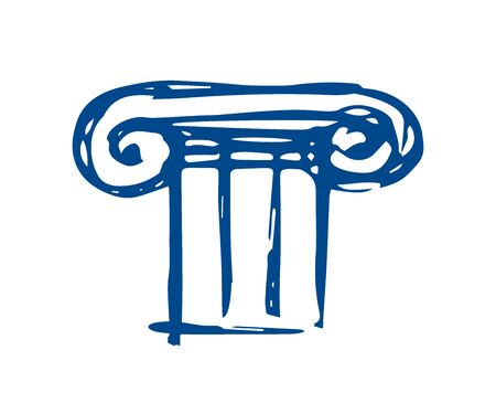 Greek architecture is a column. sketch on a white background. Greece - flat logo.