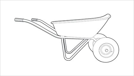 wheelbarrow for wheels for gardening and cargo transportation. wheelbarrow with handles - illustration of lines on a white background.