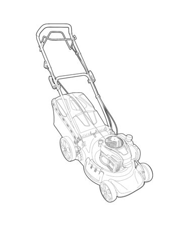 lawn mower - detailed linear drawing. garden grass cutter - illustration, coloring. mowing grass - a manual car on gasoline. mow the lawn. landscape design. look after the garden. Vektorgrafik