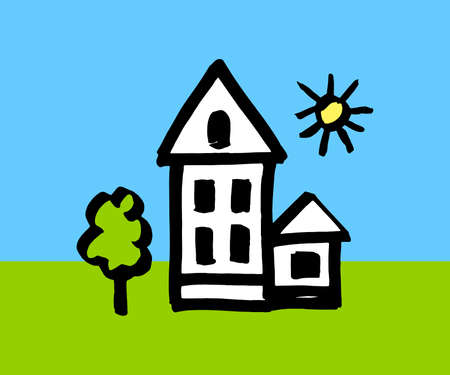 house - color childrens illustration. house - a picture was drawn by a child. house, tree, sun - simple drawing in a flat style