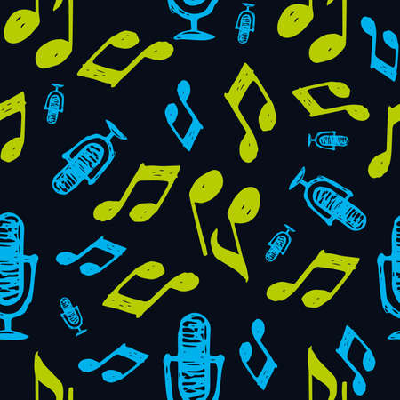 karaoke - seamless color background. notes - flat illustration in doodle style. concept - music, melody. scattered randomly notes and microphones 向量圖像