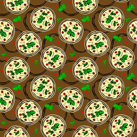 pizza seamless pattern. pizza - color illustration in a flat style. a restaurant. fast food.