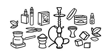 hookah doodle set - illustration on a white background. hookah accessories - tobacco, coal. smoking food store - flat pictures to cut. wide range of smoking appliances