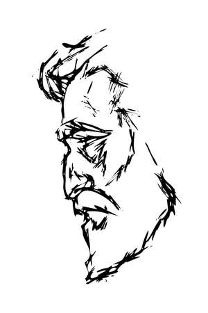 male portrait in profile - hand-drawn drawing. man s head sideways - flat style sketch for barbershop. adult man - stylized face. Çizim