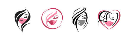 faces of beautiful girls in a protective mask - a set of icons. medical face mask - flat illustration. beauty industry - quarantine. coronavirus - protection and prevention from the virus