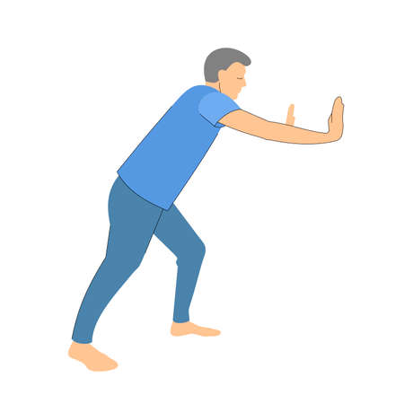 person pushes or moves something. man in full growth on a white background