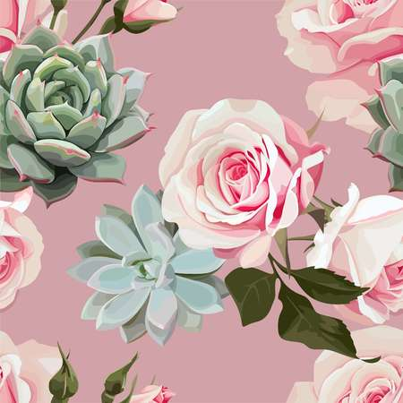 Succulents and roses vector seamless pattern of floral ornament with dusty pink background.