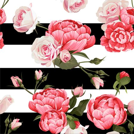 Peony And Roses Vector Seamless Pattern 1 Black and White Stripes Flowered Texture Background Vectores