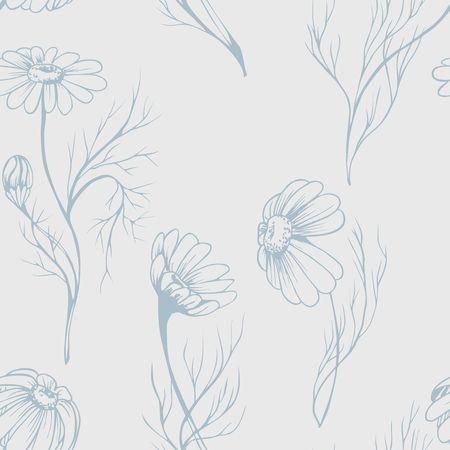 Struttura di erbe disegnata a mano del modello dei seamlees di vettore del fiore della camomilla su fondo fiorito Archivio Fotografico - 94757825