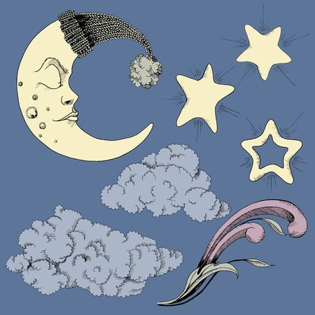 Crescent clouds and stars vector clip art set of 7 night images