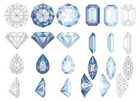 Set of gemstones in various illustration.
