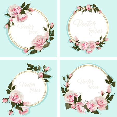 Romantic Card with roses Invitation with flowered round frame Set of 4 illustrations