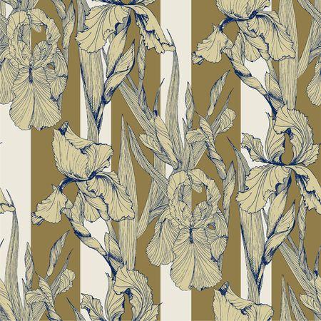 Irises flowers vector seamless pattern flowered background of botany texture Standard-Bild - 97471931