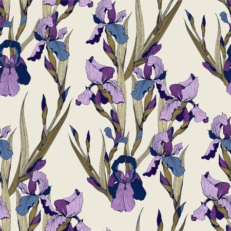 Irises flowers vector seamless pattern flowered background of botany texture Archivio Fotografico - 97476289