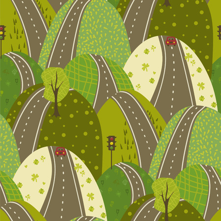 Road Through The Green Hills vector seamles pattern urban background doodle texture