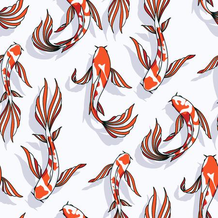 Carp koi vector seamless pattern goldfish background animal fish texture Illustration