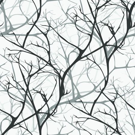 Winter forest vector seamless pattern of branches texture wood backgrounds