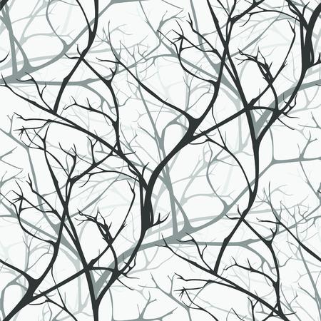 Zimowy las wektor wzór gałęzi tekstury tła drewna Ilustracje wektorowe