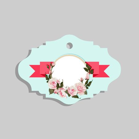 Flowered Gift Tag Shapes vector clip art isolated luggage tag with roses decorative labels Vectores