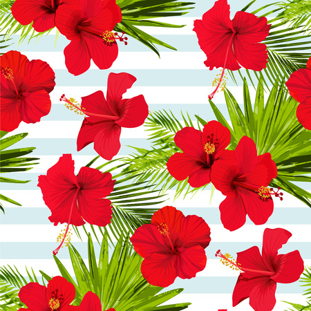Hibiscus flower vector seamless pattern on a blue stripes background flowered tropical textures Illustration