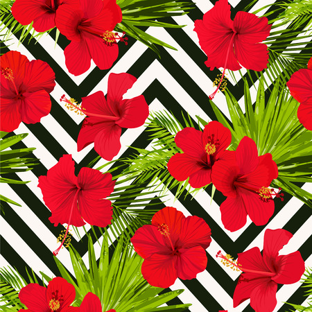 Hibiscus flower vector seamless pattern on a abstract chevron background flowered tropical textures Illustration