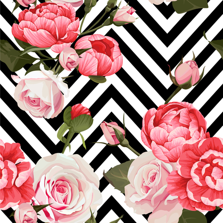 Peony and roses vector seamless pattern floral texture on a black and white chevron backgrounds