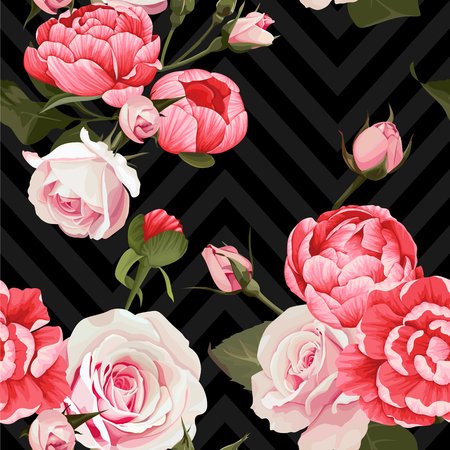 Peony and roses vector seamless pattern floral texture on a dark chevron backgrounds